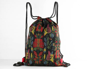 Small Drawstring Backpack Shoe Bag /Laundry Bags Tribal Floral Striped Woven Satin Lined