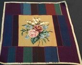 Completed Finished original floral multi-coloured striped NEEDLEPOINT PETITPOINT EMBROIDERY picture antique textile