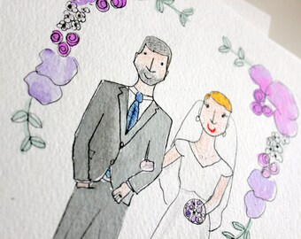 "Custom Illustration Portrait 8x10"" - Engagement Gift Anniversary Gift Shower Gift - Watercolor Portrait - Custom Illustration"
