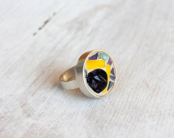 Silver ring mosaic / yellow, violet amethyst. mosaic ring jewelry. Violet