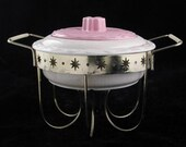 California Pottery Pink and Tan Casserole Chafing Dish and Warming Stand with Atomic Stars Vintage 1960s