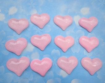 Heart Resin --50 pcs Pink Heart Cabochons Cameo Base Setting