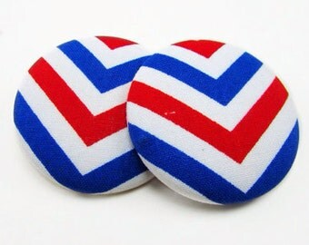Red White and Blue Patriotic Chevron Print Button Earrings