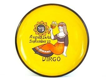 Vintage Virgo Horoscope Circular Tray