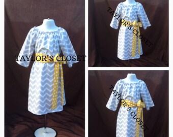 Chevron Peasant Dress Fall Peasant Dress