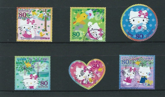 Collectible Japanese Anime Postage Stamp set of 6 -Hello Kitty Mailing to You