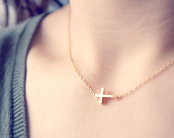 sideways petite gold cross necklace - dainty, delicate, minimalist everyday modern jewelry/gift for her under 20usd