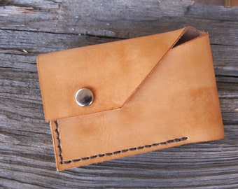 Thin, Simple. Men's Leather Wallet. Honey Brown color w/ Dark Brown Stitching.
