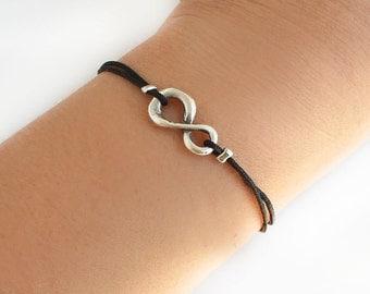 Infinity bracelet, black cord, tibetan silver charm, gift for her, friendship bracelet, best friend birthday gift, endless bracelet