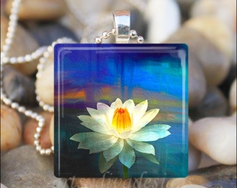 LILY PAD POND Water Lily Flower Lilypad Lillies Art Glass Tile Pendant Necklace Keyring