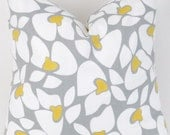Grey Yellow Decorative Throw Pillow Cover 20x20 inch Helen same fabric front and back FREE SHIP