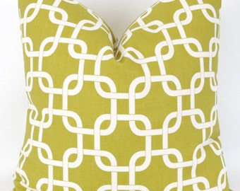 Citrine Green Chain Pillow Cover -MANY SIZES- Yellow link Gotcha Summerland decorative throw euro sham custom cushion bold modern geometric