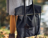 Black, cotton tote handbag WOLF / natural leather handles and removable strap