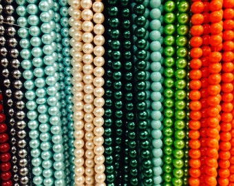 12mm Glass pearls, round, 35 beads