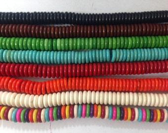 howlite rondelle donut beads, 10mm, around 135 beads