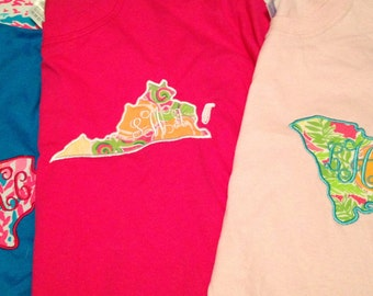 Lilly Pulitzer Fabric Monogrammed State Shirt (Short Sleeve, Long Sleeve or Tank)