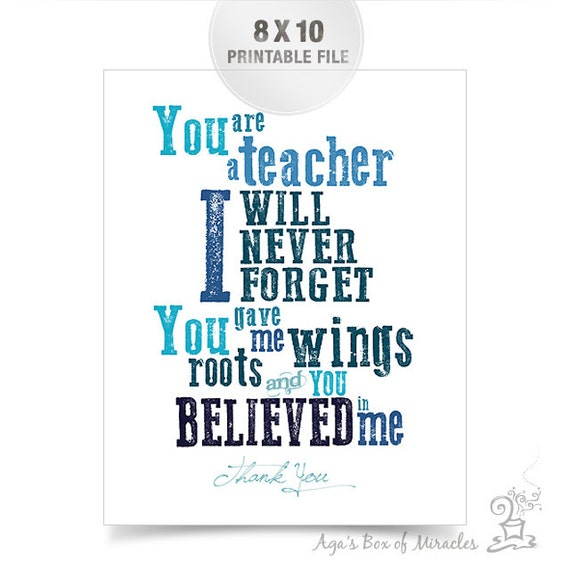 Thank You Teacher Quotes Amazing 8X10 Teacher Appreciation Printable Jpeg  Thank You Teacher