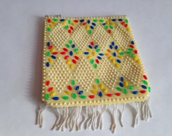 yellow . PURSE  //  Vintage Yellow beaded coin pouch with Zipper