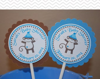 Sock Monkey Blue Cupcake Toppers - Set of 12 Personalized Birthday Baby Shower Decorations