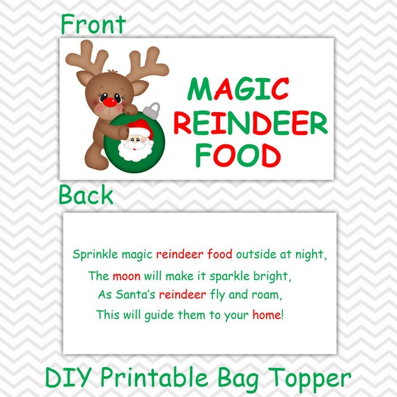 Christmas Magic Reindeer Food - Personalized DIY Christmas Printable ...