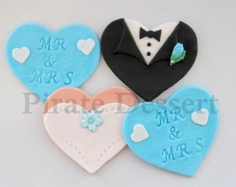 Edible WEDDING Cupcake toppers - Mr and Mrs set - Bride and Groom fondant decorations - Wedding Cupcakes (light blue color) (12 pieces)
