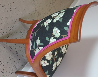 Closing down sale meet Madge :  A Vintage Revived Chair in Grey White Floral with Hot Pink Trim