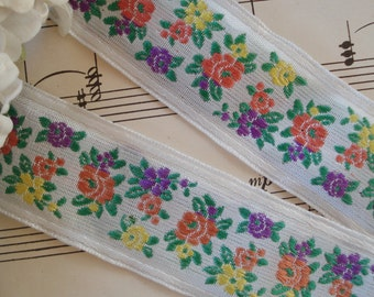 1y Vintage French 1930s Jacquard Colorful Tiny Flowers Woven Embroidered Ribbon Trim Doll Dress Flapper Edwardian Sewing Trim