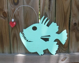 Valentine,  Angler Fish, heart, beach, cottage chic, whimsical, wood, handmade, wall art