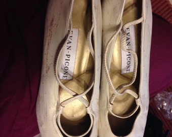 Vintage Evan Picone Ballerina Heels Golden Speckled Cream Evan Picone Shoes Ladies Size 8.5 USA / 29 EUR / 6 UK