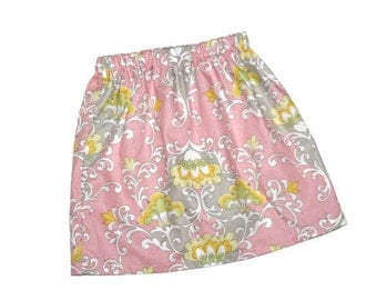 Baby, toddler, and girls pink gray floral twirl skirt sz 12m, 18m, 24m/ 2, 3,4,5,6,7,8