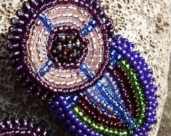 Vintage Garnets & Beadwork Earrings, Stud or Clip Earrings