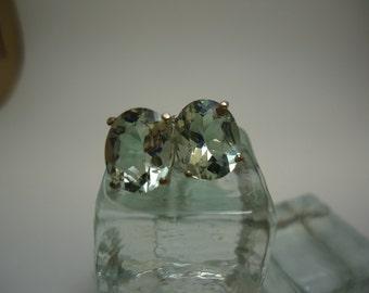 Oval Cut Green Amethyst Earrings in Sterling Silver  #879