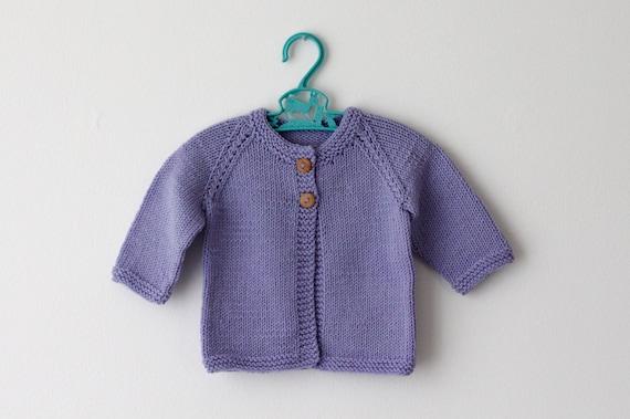 Lilac - Merino Baby Cardigan 0-6 Months