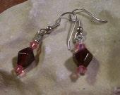 Garnet and Swarovski Bicone Earrings