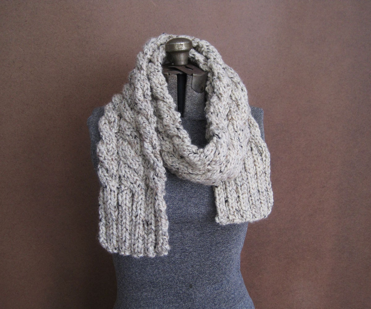 Knitting Chunky Scarf : Chunky cream cable knit scarf the rainier made to order