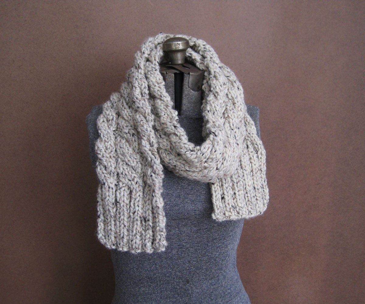 Knitting Chunky Scarves : Chunky cream cable knit scarf the rainier made to order