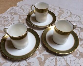 ON SALE, Vintage Royal Doulton Bone China, Set of Three Demitasse, Belvedere Pattern, White Green and Gold, Elegant