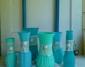 Painted vases, shabby chic, wedding decor, upcycled vases, clearance