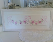 Antique Door Panel\Pink Rosebud Swag with Pale Pink Bows  and Decorative Frame Picture Hanger
