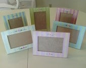 Shabby Chic  Hand Painted  Striped Rosebud 4x6  Wood Picture Frames