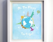 Dr. Seuss Quote Oh The Places You'll Go Baby Girl Nursery Print Art Decor Kids Wall Art Children Playroom Art Decor World Map Print Poster