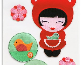 Hello Tokyo Kokeshi Girl in Sweet Iron~On Appliqué Motif by the Red Thread for Robert Kaufman