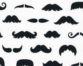 Merry Mustaches by Caleb Grey Mustaches on White for Robert Kaufman