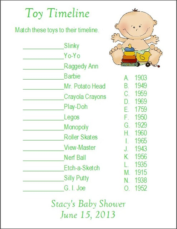 24 personalized toy timeline baby shower game
