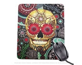 """Colorful Sugar Skull Mousepad - Day of the Dead Mouse Pad - """"Sugar Skull Paisley Garden"""" (copyrighted)"""