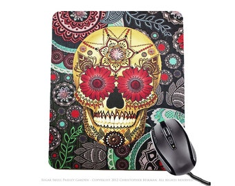 "Colorful Sugar Skull Mousepad - Day of the Dead Mouse Pad - ""Sugar Skull Paisley Garden"" (copyrighted)"