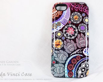 Paisley Apple iPhone 5s SE case - Mehndi Garden - Purple Floral iPhone SE TOUGH case by Da Vinci Case