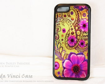 Metallic Paisley Floral iPhone 5c Bumper Case - Golden Paisley Paradise - Artistic iPhone 5c Case with Pink, Purple and Yellow Artwork