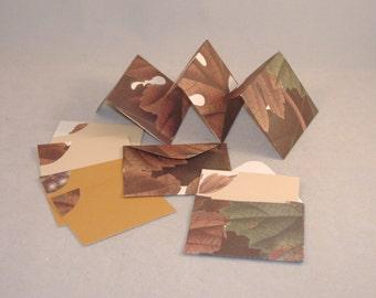 5 Mini Blank Cards & Matching Envelopes, Fall Maple Leaves - Tan, Cream Card Stock, Repurposed Paper