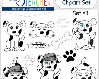 Sherlock Dog Clip Art Set Black and White Set